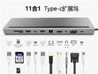 11in1-1 USB-C HUB HDMI+USB*3+USB C*2+SD+TF+RJ45+VGA+DC3.5 Audio