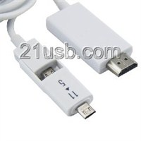 MHL视频线,MHL cable,MHL厂家,MHL高清线,HDMI AM TO MICRO 5P+11P+USB MHL 视频线