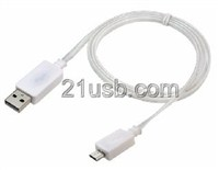 USB AM TO MICRO 5P CABLE 发光线 白色