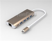 USB Type C to 4*USB 3.0 HUB+RJ45+PD 铝壳