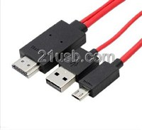 MHL视频线,MHL cable,MHL厂家,MHL高清线,HDMI 19PIN AM TO MICRO 5PIN + USB MHL CABLE
